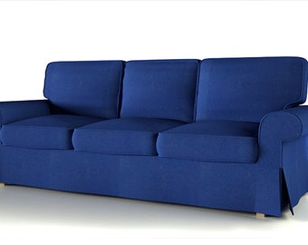 Ordinaire Slipcover For Ikea 3 Seat Ektorp Sofa (not Bed Sofa)/ Ektorp 2 Seat Sofa In  Dark Blue With White Piping
