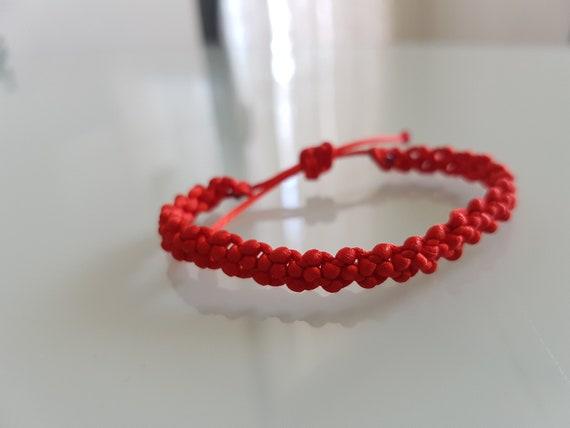 fina artesanía nuevo estilo de 2019 diseño elegante Pulsera Roja de la Suerte en Macramé Pulseras Hilo Bisutería/ Macrame  Bracelet Good Luck
