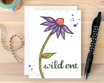 Wild One Card Just Because Daisy Greeting Birthday Watercolor Flower Bestie Gift For Girlfriend Her