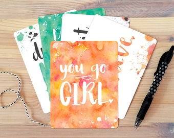 FLAT NOTECARD SET: You Go Girl Series of 5 Cards. Greeting Card Box Set. Inspirational Gift. Gift for Her. Best Friend Gift. Gift for Mom