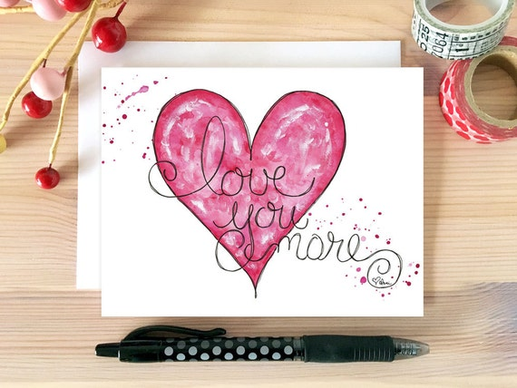 Just Because Card Romantic Card Card for Wife Card for Boyfriend Love You More Love Card Hand Drawn. Card for Husband Card for Her