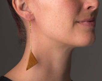 Triangle drop earrings, gold chain drop earrings, geometric earrings, wooden dangle earrings, triangle wooden earrings, risonart
