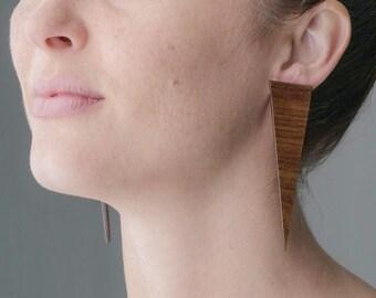 Triangle earrings, wood triangle earrings, boho earrings, stud earrings, wooden earrings, wooden studs by Rison