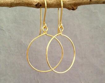 Gold drop earrings.Minimalist earrings Gold hoop earrings.Jewelry Gift idea.Wire earrings.Dangle hoops Wire jewelry wire wrapped earrings