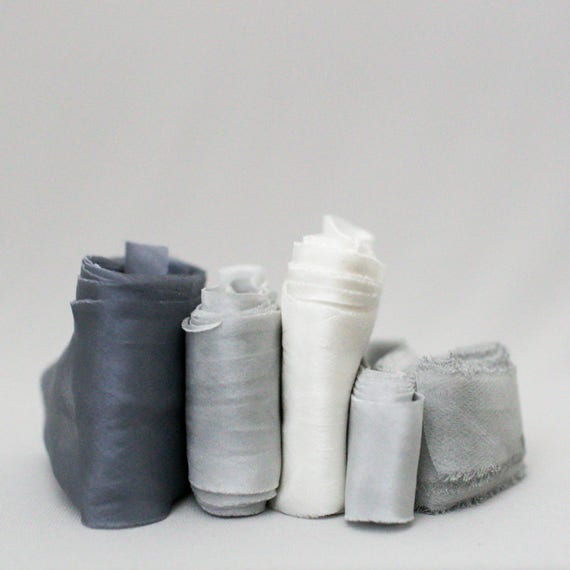 Ruban de de Ruban soie   Gris   Usine de teint de teint à la main / / Styling Bundle Luxe mariage rubans de soie, rubans de fleurs, rubans de papeterie, soie naturelle e5a4d6