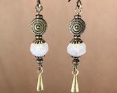 opalescent dangle earrings charm earrings Czech glass earrings long earrings boho chic jewelry neutral earrings