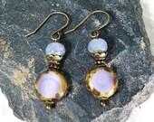 lavender dangle earrings pastel earrings Czech glass earrings lilac earrings small earrings minimalist earrings
