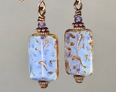 lilac opal Czech dangle earrings pastel earrings Czech Picasso finish earrings opalescent earrings rectangle earrings Czech glass earrings
