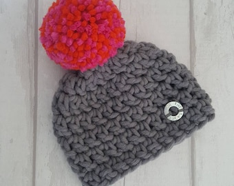 ab04c2e18f7 New Born Handmade Bobble Hat in Grey and Pink