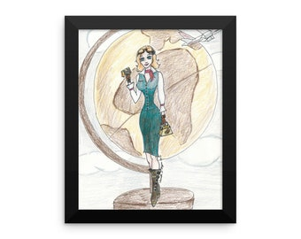 Steampunk inspired Flight attendant illustration Framed poster