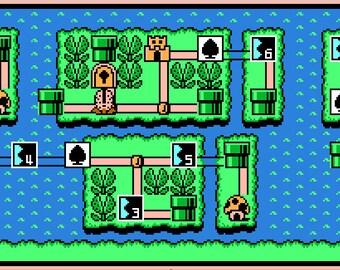 Super Mario World Map Cross Stitch Pattern Overworld Retro