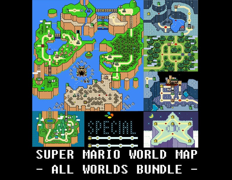 Super Mario World ALL WORLDS Maps -- Cross Stitch Pattern!
