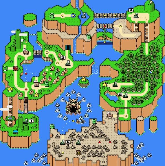 Super Mario World Map Super Mario World Map Cross Stitch Pattern Overworld Retro | Etsy
