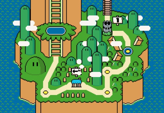 Super Mario World Yoshi\'s Island Map Cross Stitch   Etsy