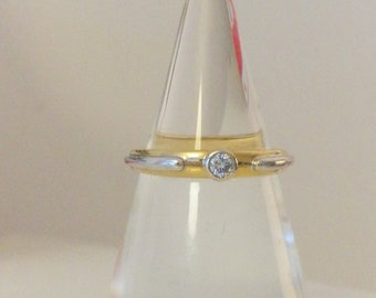 White and Yellow Gold Solitaire Diamond Ring, engagement ring