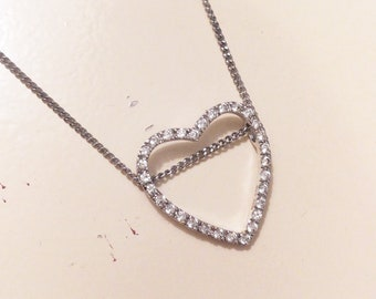 Sterling silver heart pendant, silver heart cz stones, heart necklace, heart charm