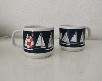 Vintage coffee cups nautical dutch preppy style