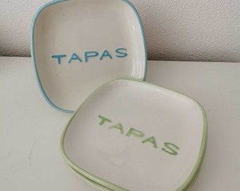 Set of three pastel tapas dishes - small serving dishes/side dishes