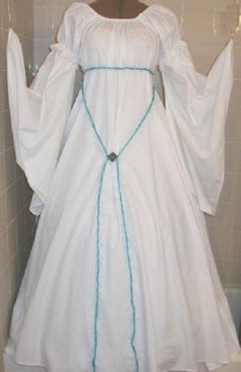 Renaissance  chemise style reenactment costume gown White image 1