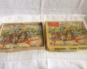 A sweet 20 Piece 1950s Children's Wooden Jigsaw Puzzle.