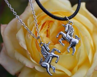 Unicorn Charm Choker Or Necklace. Black Leather/ Waxed Cord/ Silver Chain. Unicorn Jewellery. Unicorn Necklace. Unicorn Gift.