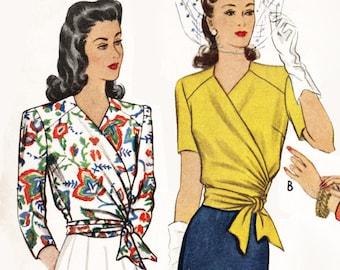 1940 vintage sewing pattern 1940s 40s pattern misses women's wrap  blouse   // side tie short long sleeves // Bust 32 34 36 38