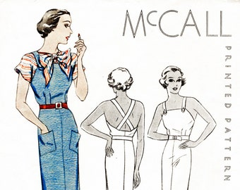 30s 1930s McCall sports dress & blouse bust 34 vintage sewing pattern English and French repro