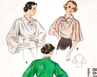 222b43d76426 vintage sewing pattern 1930s 30s pattern women s blouse bishop or flared  sleeves art deco style Bust 34 reproduction vintage sewing