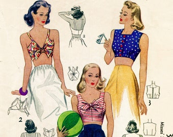 69b81701f47 40s 1940s vintage repro women s sewing pattern sleeveless midriff crop top  bow bra beach PICK YOUR SIZE English   French bust 30 32 34 36 38