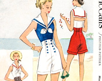 1950s 1960s romper playsuit vintage pattern reproduction nautical style beachwear bust 34