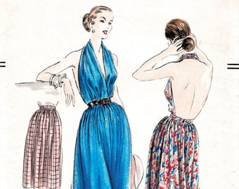 1950s vintage sewing pattern 50s Marilyn  halter dress plunge backless style full skirt  size xsmall small medium large reproduction