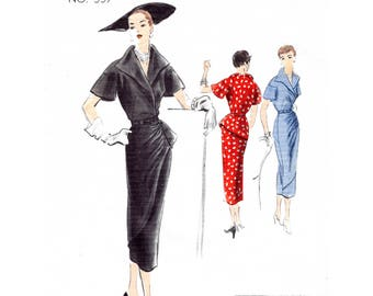 1950s 50s afternoon dress vintage sewing pattern reproduction // asymmetric drapery // wiggle skirt // Bust 32