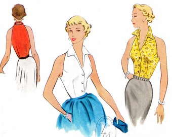 vintage sewing pattern 1950s 50s  classic halter top / pointed collar / dart fitted /  PICK YOUR SIZE Bust 32 34 36 38 40