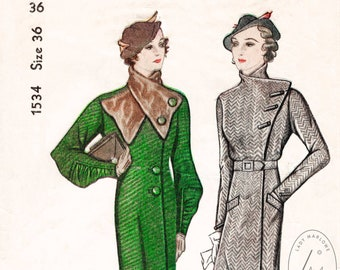 vintage sewing pattern Vintage Sewing Pattern 1930s 30s coat detachable fur collar 2 styles bust 36 b36 reproduction