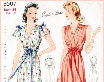 vintage sewing pattern 30s 1930s 40s 1940s vintage gown sewing pattern lingerie slip dress negligee bow detail Bust 34 reproduction