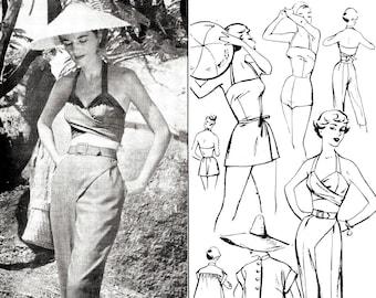 1950s 50s beachwear 5 piece set vintage sewing pattern romper playsuit wrap skirt halter capris jacket PICK YOUR SIZE bust 32 34 36 38 40
