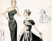 1950s 1960s vintage one shoulder asymmetric cocktail gown wiggle dress sewing pattern evening PICK YOUR SIZE Bust 32 34 36 38