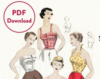 vintage sewing pattern 1950s 50s  crop top halter blouse bustier fitted Bust 32 B32  Instant Download