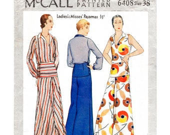 13452da08ce2 30s 1930s reproduction vintage women s sewing pattern beach summer sports wide  leg trousers blouse bust 38 b38 English and French