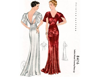 vintage sewing pattern 1930s evening gown reproduction / art deco wedding bridal / extended train hem / English & French / PICK YOUR SIZE