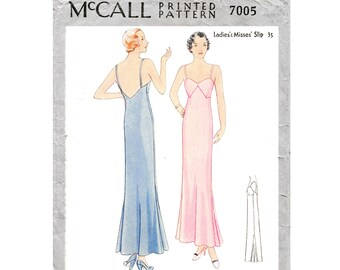 3421192dda vintage sewing pattern 1930s 30s lingerie    evening length slip dress     deep V back    bust 32 34 36 38 40