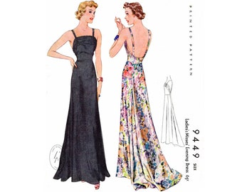 1930s evening dress vintage sewing pattern repro / spaghetti straps / plunge back / English & French / PICK YOUR SIZE bust 32 34 36 38 40