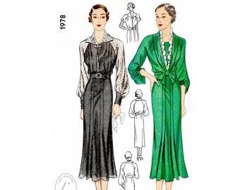 1930s 30s dress vintage sewing pattern  // shawl collar // bishop sleeves // ruffle trim // bust 34 36 38 40 42 44/ 1930
