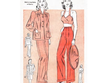 vintage sewing pattern 1940s   high waist trousers crop top halter blouse PICK YOUR SIZE bust 32 34 36 38 40