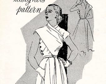 1950s 50s Jo Copeland wrap dress // vintage sewing pattern reproduction // wrap blouse // full skirt // Bust 34