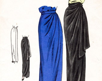 f962fa6181c7 vintage sewing pattern 1940s 40s vintage skirt women s sewing pattern  draped gathers evening cocktail size small waist 24