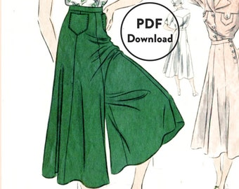 1930s vintage sewing pattern wide leg trousers or culotte skirt & blouse bust 34  Instant Download