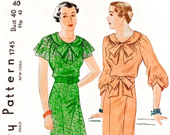 1930s 30s Vintage Sewing Pattern day dress flutter sleeves bishop sleeves art deco  bust 40 repro
