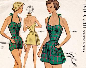 1950s 50s vintage swimsuit sewing pattern pleated one piece halter playsuit bathing suit beach romper swimwear bust 36 b36
