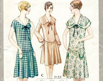 1920s 20s dress vintage sewing pattern reproduction // 3 styles // flapper dress // drop waist // bust 36
